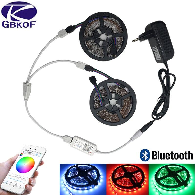 Bluetooth Contrôle RGBWW RGBW Led Light Strip Étanche 5 m 10 m Flexible Led bande diode ruban + Bluetooth Contrôleur + adaptateur ensemble