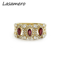 LASAMERO Oval Cut 0 50ctw Natural Ruby Gemstone 3 Stone Middle Age Vintage 18k Rose Gold