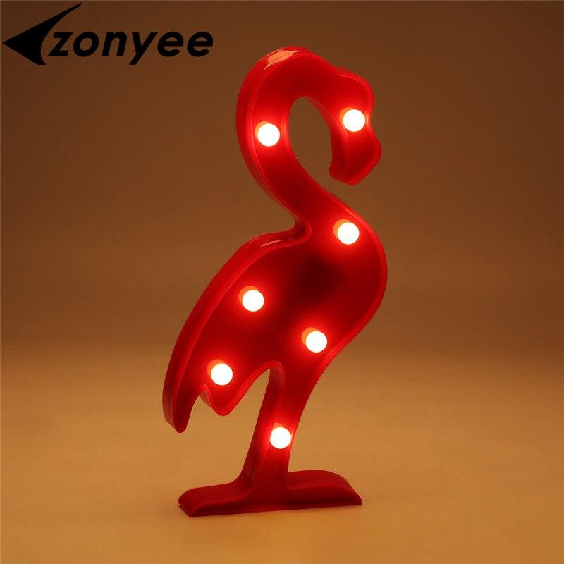 Zoynee лампа ночник 3D Фламинго ананас кактус Пластик светодиодные лампы, светильники детская комната Спальня ночники партии Домашний Декор