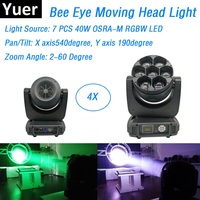 Bee Eye Moving Head Lights 7X40W RGBW 4IN1 LED Beam Lights DMX Zoom Party Lights IP20 Dj Disco Stage Lighting Shows Equipments