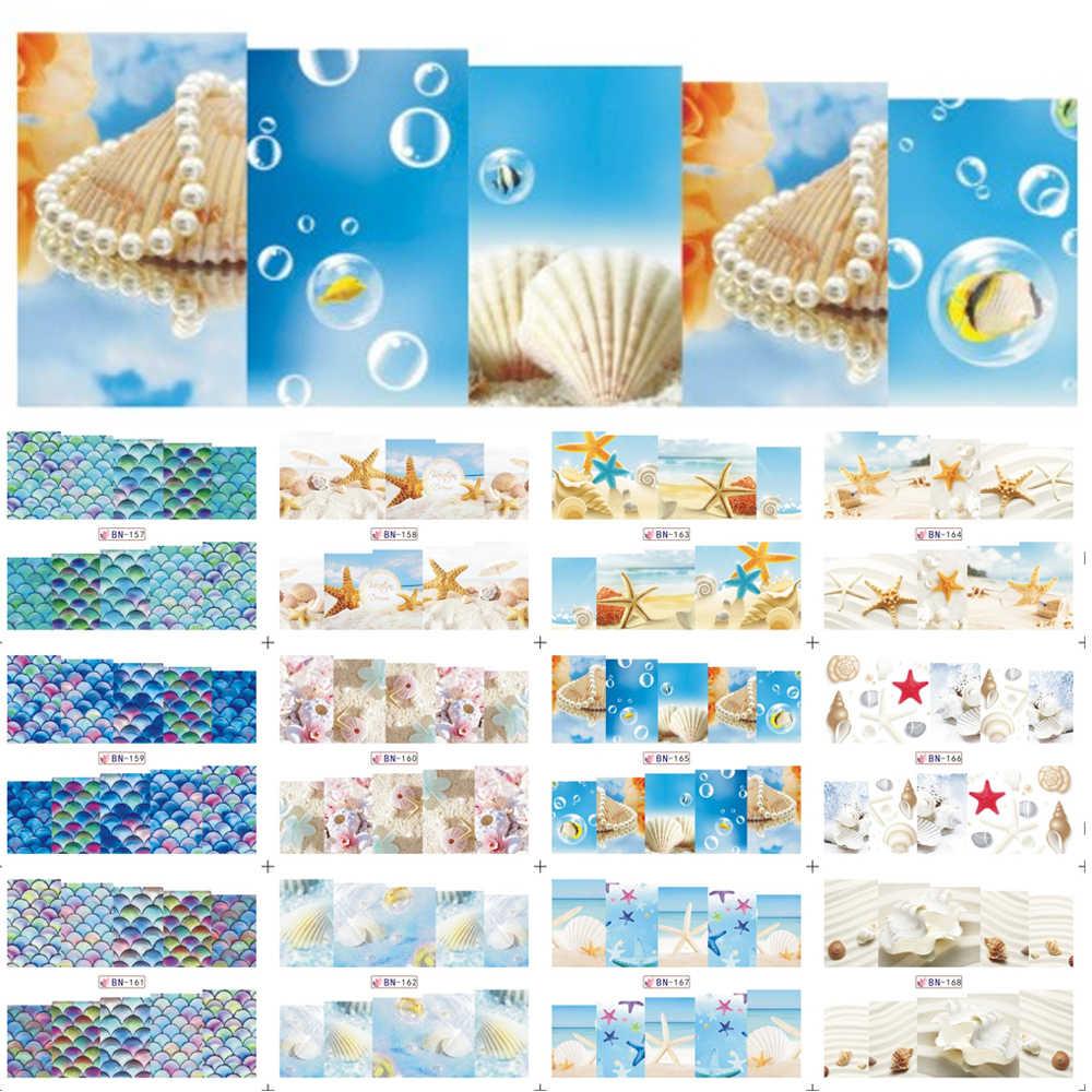 12 디자인 네일 아트 물 전송 전사 술 여름 바다 해변 스타일링 만화 디자인 접착제 접착제 매니큐어 스티커 BN157-168