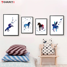 где купить Creative Starry Sky Horse Posters And Print Art Canvas Painting Wall Pictures For Kids Rooms Decor Home Decoration Accessories по лучшей цене