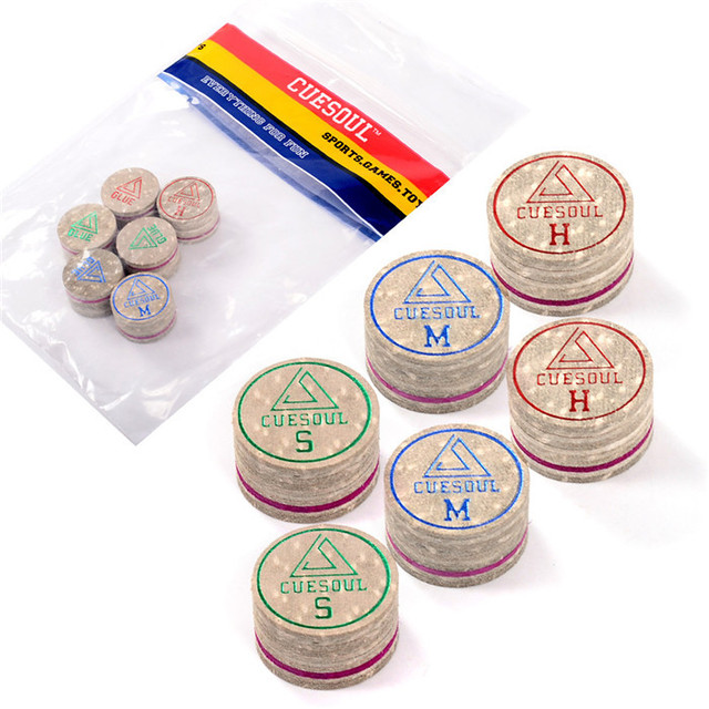 CUESOUL Billiard Cue Tips 6pcs/set 14mm Soft Baked Pig Leather Pool Cue Tips, 14mm, 10 Layer Cue Tip