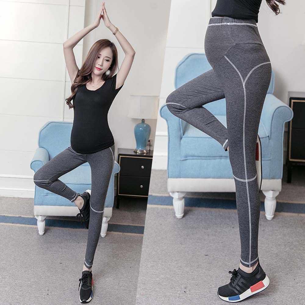 3e8d45bce2f2e9 ... Lady Maternity Solid Black Sport Yoga Leggings Pants Clothes for Pregnant  Women Trousers Modal Elastic Clothing ...