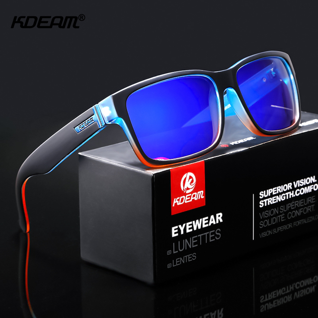KDEAM Reformulação Do Esporte Dos Homens Óculos De Sol Polarizados Surpreendentemente Cores Fotocromáticas Óculos De Sol Com Caixa de óculos de Sol Óculos de Condução Ao Ar Livre