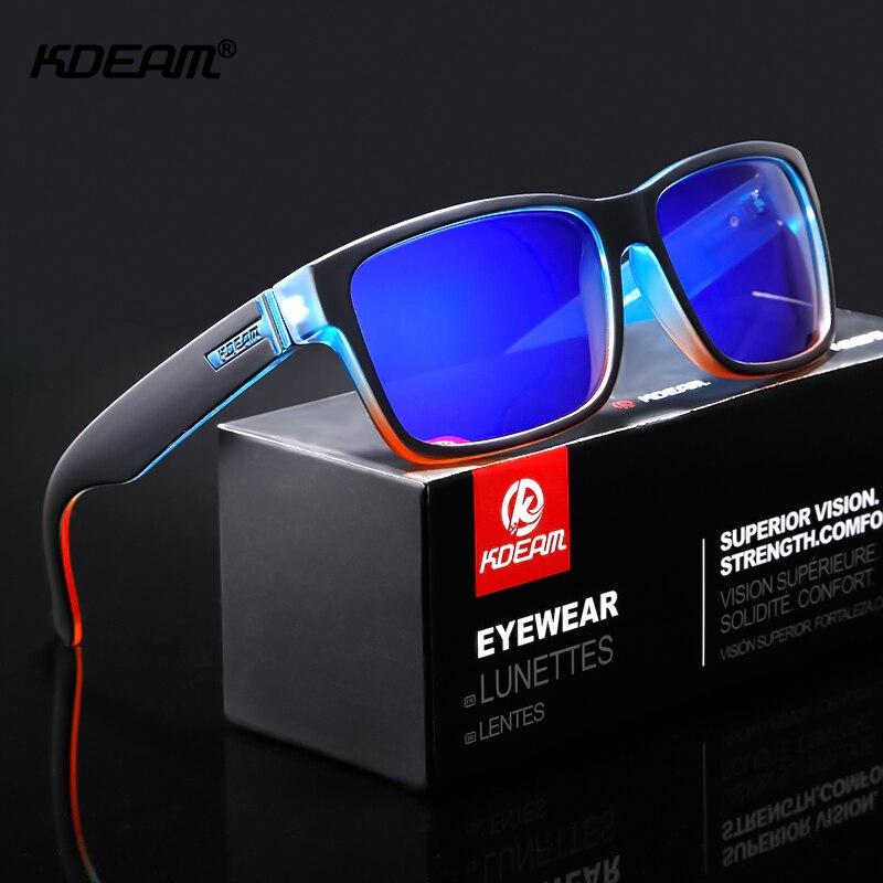 Renovación de deporte de los hombres gafas de sol polarizadas KDEAM sorprendentemente colores gafas de sol al aire libre Elmore estilo gafas con caja