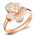 ZMZY Austrian Crystals Ring Rose Gold Plated Anelli Flower Ring bague Engagement anillos anel Rings for Women Wedding Ring