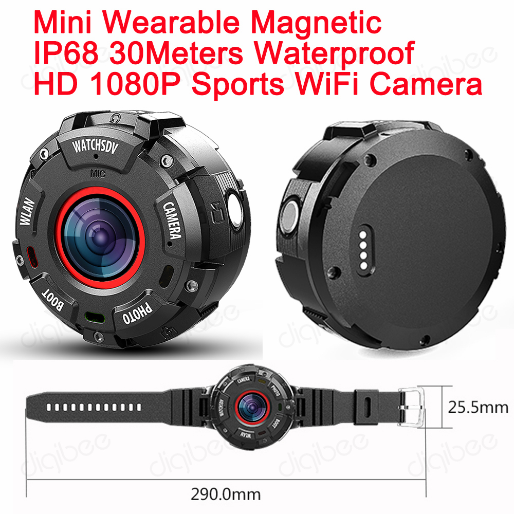 Wide-angle Sports Action DV WiFi Camera IP68 30M Waterproof Full HD 1080P Video Recorder Mini Wearable Camera with Watch Band цена