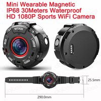 Wide angle Sports Action DV WiFi Camera IP68 30M Waterproof Full HD 1080P Video Recorder Mini Wearable Camera with Watch Band