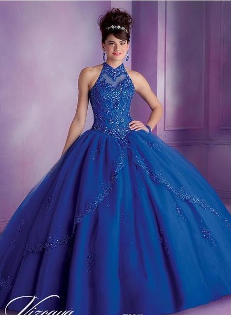 2017 Vestido Festa 15 Anos Champanhe E Luz do Céu Azul Vestidos Vestidos Quinceanera Bola Vestidos Tulle Alta Neck 2016 Estilo Moderno 2016