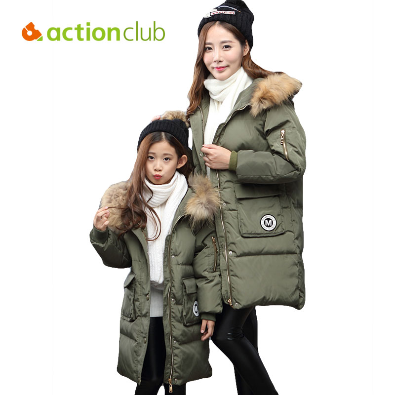 Actionclub Family Matching Clothing Mother Daughter Winter Down Jacket Kids Long Section Duck Down Hooded Coat Family Look Style купить
