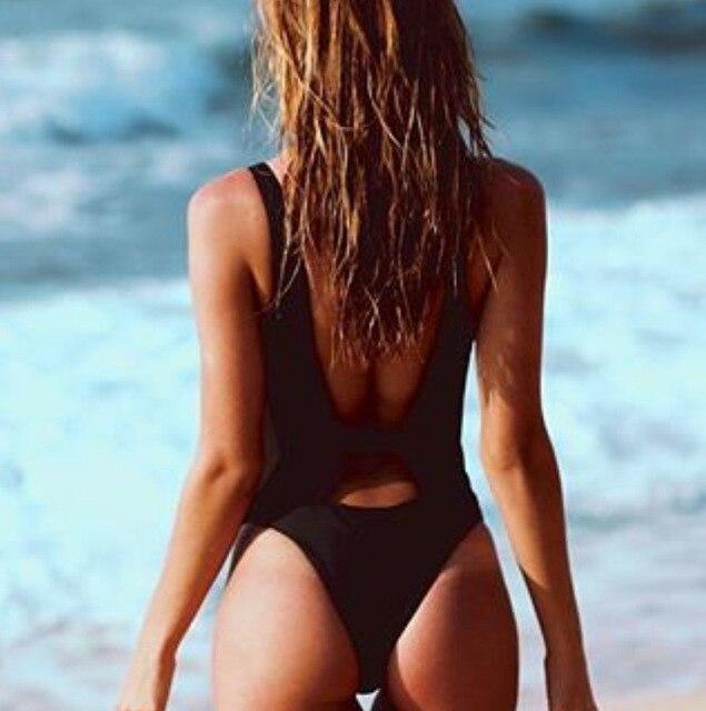 ca4144a3238 US $15.58 |Black One Piece Zipper Swimsuit Thong Swimwear Girls Backless  Bathing Suit Plus Size Monokini Bodysuit Sexy Push Up Biquini XL -in Body  ...