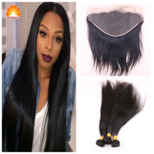 7A Brazilian 13*6 Lace Frontal Closure With Bundles3/4 Pcs/Lots,Brazlian Virgin Hair With Lace Frontal Closure Bleached Knots