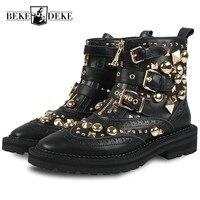 Женские ботильоны с заклепками в готическом стиле; Байкерская обувь из натуральной кожи с пряжкой; Подиумные ботинки на молнии с шипами; жен