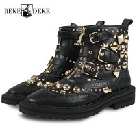 Gothic Women Rivet Ankle Boots Motorcycle Biker Buckle Genuine Leather Shoes Runway Zipper Studded Boots Female Footwear