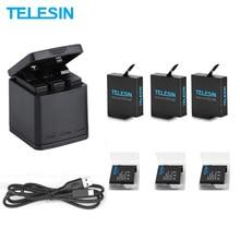 TELESIN 3-полосный светодиодный зарядное устройство и 3 аккумулятора зарядный блок кабель type-C для GoPro Hero 8 7 6 Hero 5 черный комплект аксессуаров