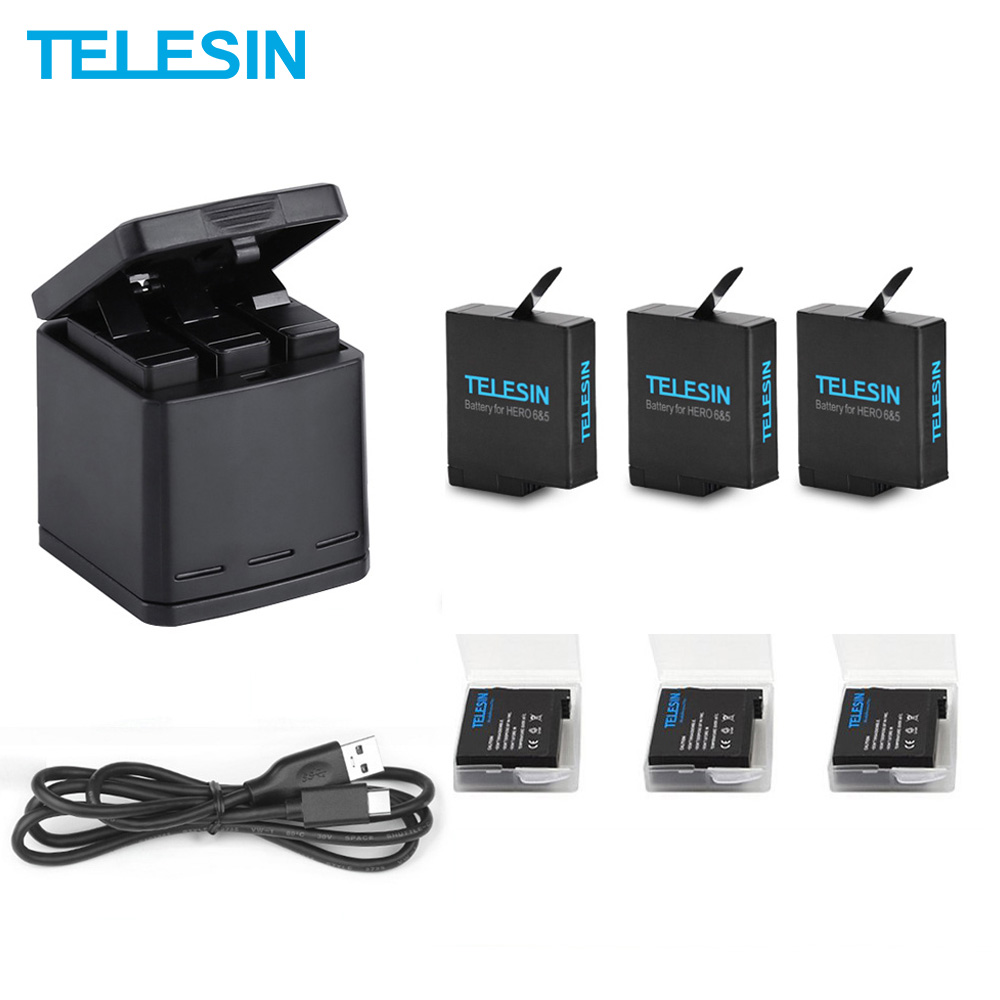 аккумулятор gopro для hero5 black 1220mah - TELESIN 3 Way LED Battery Charger and 3 Battery Pack Charging Box Type-C Cable for GoPro Hero 7 6 Hero 5 Black Accessories Set