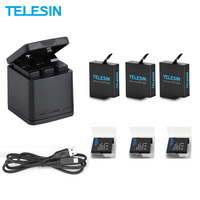TELESIN 3 Way LED Battery Charger and 3 Battery Pack Charging Box Type C Cable for GoPro Hero 8 7 6 Hero 5 Black Accessories Set