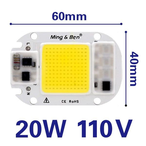 20W 30W 50W 110V LED COB Chip Lamp Floodlight Smart-IC Bulb Bead Warm//Cold White