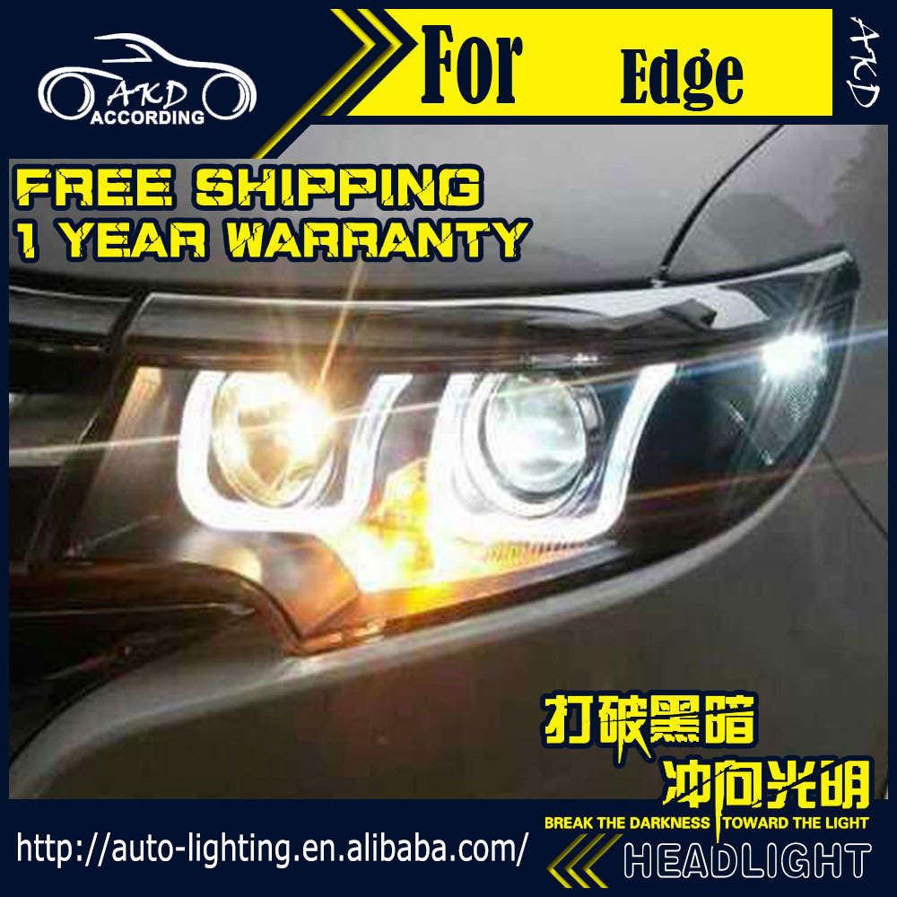 AKD Car Styling Head Lamp for Ford Edge Headlights 2012-2015 Edge LED Headlight DRL H7 D2H Hid Option Angel Eye Bi Xenon Beam akd car styling for nissan teana led headlights 2008 2012 altima led headlight led drl bi xenon lens high low beam parking