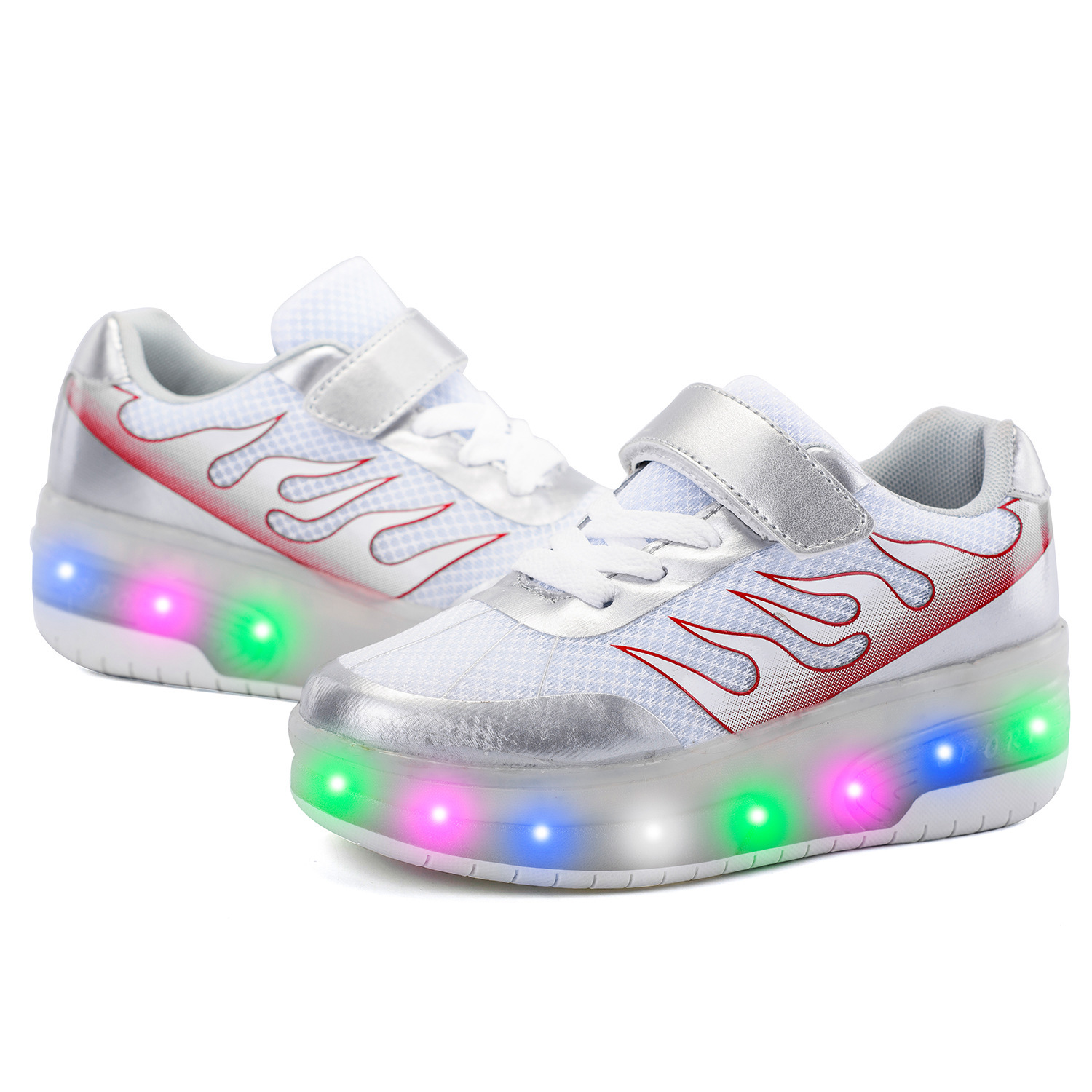 New Style Glowing Shoes Men and Women Children's Youth Pulley Shine Double Wheel Skates Single LED Roller Skates Shoes цены онлайн