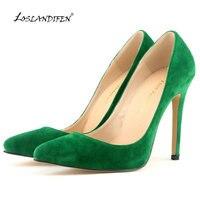 LOSLANDIFEN Women Pump Sexy Pointed Toe High Heels Women Pump Velvet Spring Brand Design Wedding Shoes