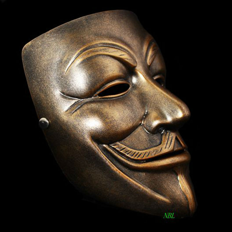 V för Vendetta Resin Mask Halloween Masquerade Anonym Guy Fawkes Fancy V Masker Klänning Vuxen Kostym Cosplay Party Rekvisita