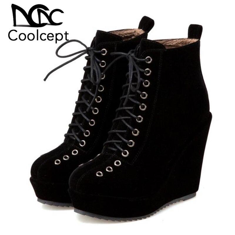 Coolcept Women Half Short High Wedges Boots Lace Up Platform Boots Warm Shoes 2 Lining Winter