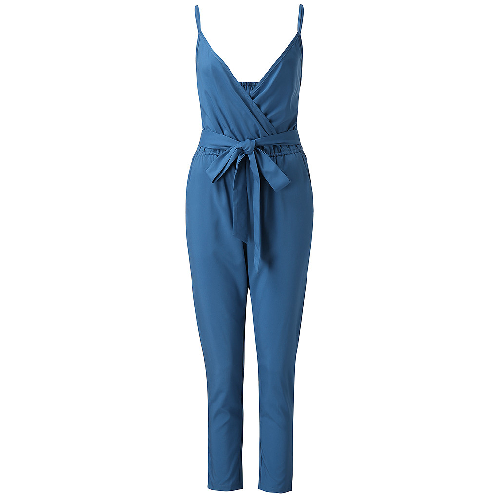 Rompers Summer Jumpsuit Ladies Spaghetti Strap V-Neck Wrap Top Tie Waist Casual Salopette Femme Short  Jumpsuit Elegantes
