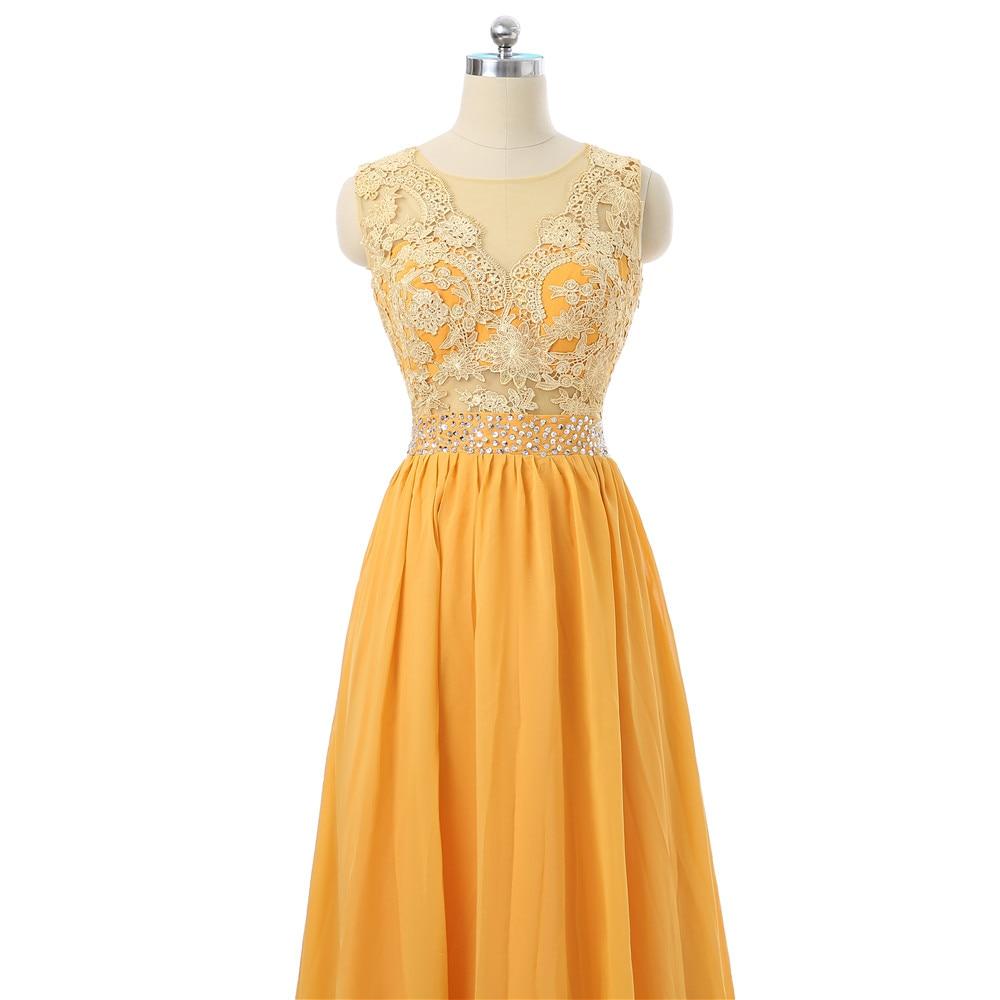 Orange Evening Dresses 2018 A line Chiffon Lace Beaded See Through ...