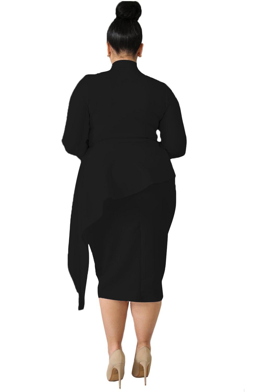 Black-Bowknot-Mock-Neck-Plus-Size-Bodycon-Dress-LC610372-2-2