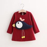 2016 New Autumn Winter Girls Kids 3D Bird Cotton Sweater Dresses Comfortable Cute Baby Clothes Children