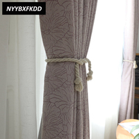Purple Jacquard Geometric Blackout Curtains Green Chenille Cloth Curtain For Living Room Bedroom Home American Pastoral