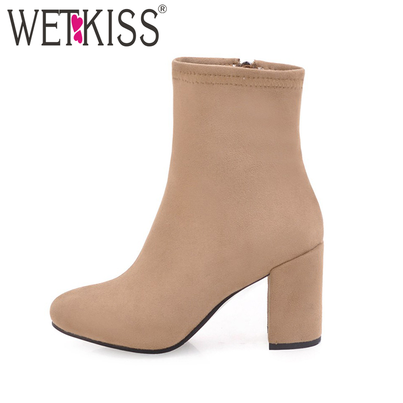 2017 Big Size 33-43 Concise Ladies Nubuck Ankle Boots Women Side Zipper Square toe Winter Boots Thick High Heels Shoes Autumn egonery quality pointed toe ankle thick high heels womens boots spring autumn suede nubuck zipper ladies shoes plus size