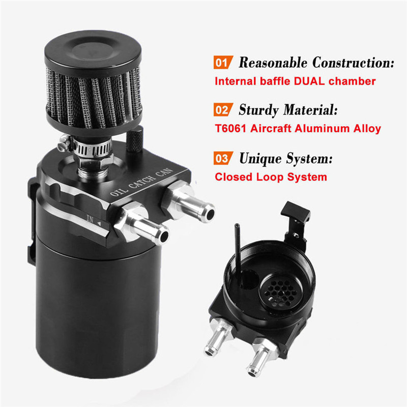 Engine Oil Catch Can Tank Reservoir Breather Baffled Air Filter For Chevrolet