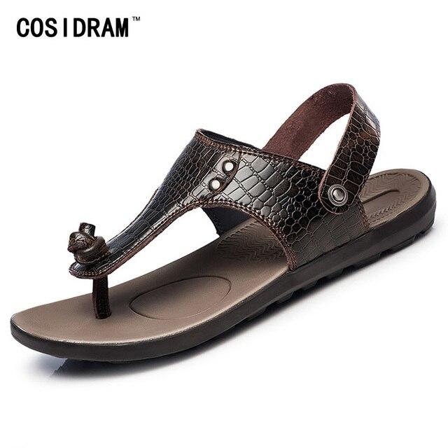 4a261913ac28 Plus Size 45 46 47 Summer Men Shoes Flat Heels PU Leather Men Sandals  Fashion Casual Beach Shoes Male Sandalias New 2017 RMC-675