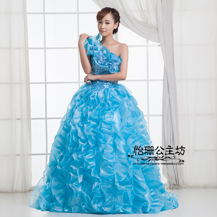 Image 3 - Quinceanera Dresses Princess Red/Green Flower One Shoulder  Sleeveless Ball Gown Lace up Floor Length Organza quinceanera  ruhaQuinceanera Dresses