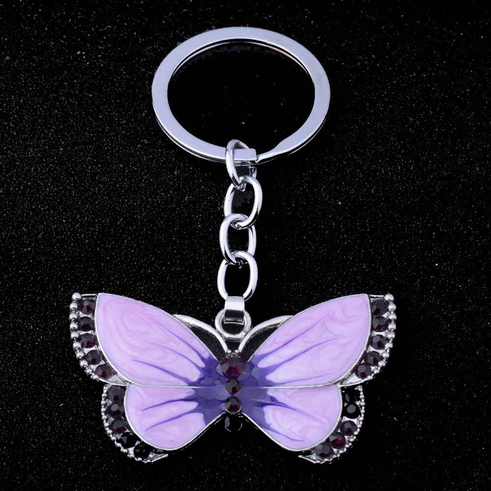 באיכות גבוהה פרפר מפתח שרשרות טבעות קריסטל ריינסטון פרפר תליון קסם תכשיטי מחזיקי מפתחות חג המולד חג המולד מתנות Keyring