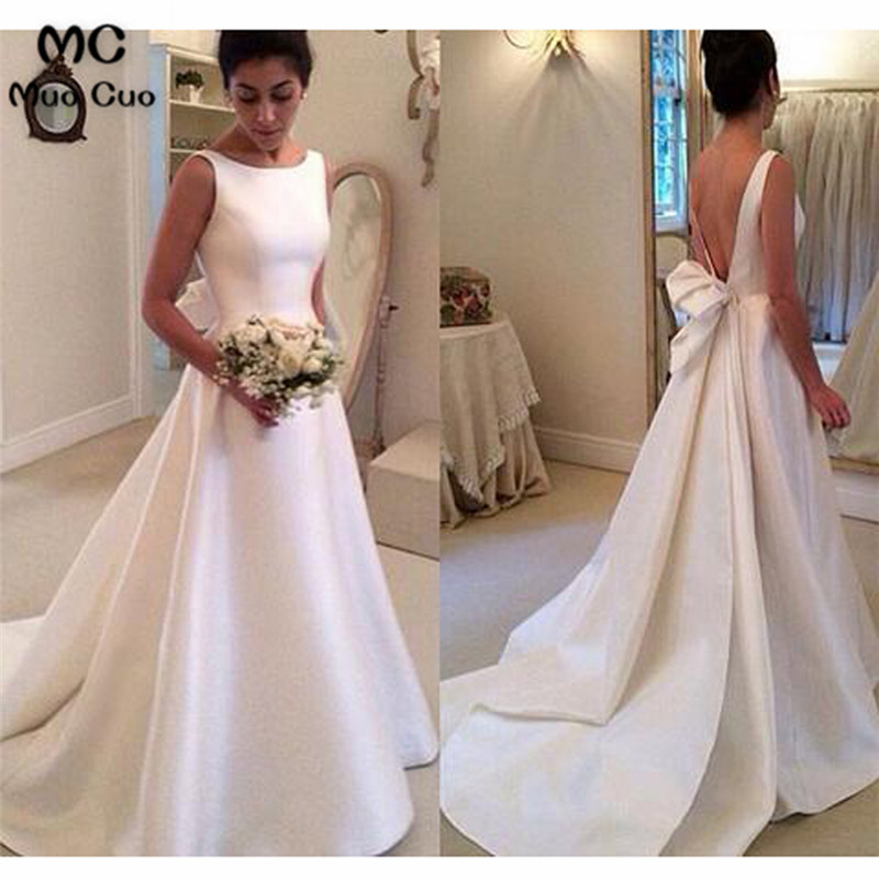 Boat Sleeveless Wedding Dresses,Sweep Train Deep V Back Cheap Wedding Gown3