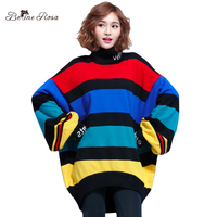 BelineRosa 2017 Women S Bat Sleeved Tops Plus Size Women Clothing High Collar Striped Winter Knitting