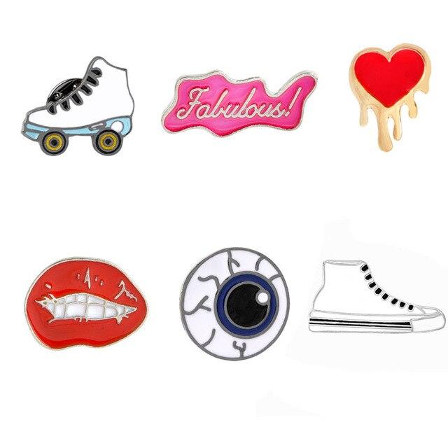 6 Gaya Kartun Pin Bibir Merah Hati Katrol Sepatu Kanvas Mata sepatu Jaket Kerah Pin Keras Enamel Bros Untuk Wanita kerah lencana hadiah