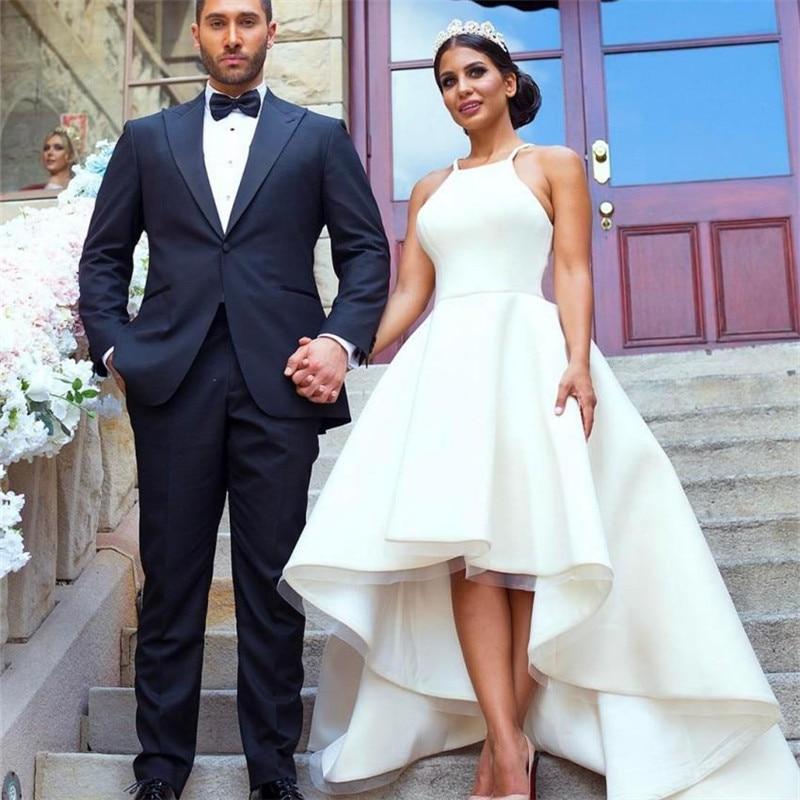 Simple Low Key Wedding Dresses: Modest Simple Wedding Dresses High Low Halter Neck Satin A