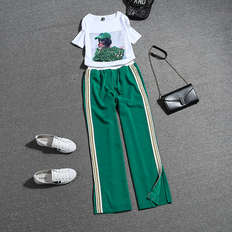 2018 New Summer Fashion Women's Sets Sequins Short Sleeve Cotton Tops + Hot Stamping Green Long Trousers Casual Students Suits
