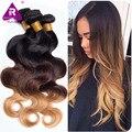 Необработанные Малайзийские Волосы Ломбер Блондинка Объемная Волна Малайзийские Волосы 8А Класс Ombre Человеческие Волосы Три Тона Малайзийские ломбер объемная волна