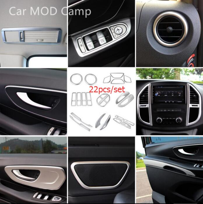 For Mercedes-Benz Vito W447 2014-2018 ABS Matte Interior Accessories Decoration Cover Trim 22pcs (Only fit Left Hand Drive Car!) left handle drive car abs matte interior