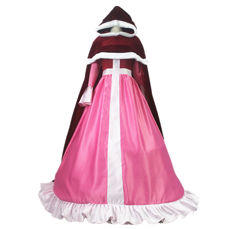 Beauty and Beast Belle Cosplay Costume Belle Pink Dress Red Cloak Snow Grow Princess Halloween Costumes for Adult Women Dress