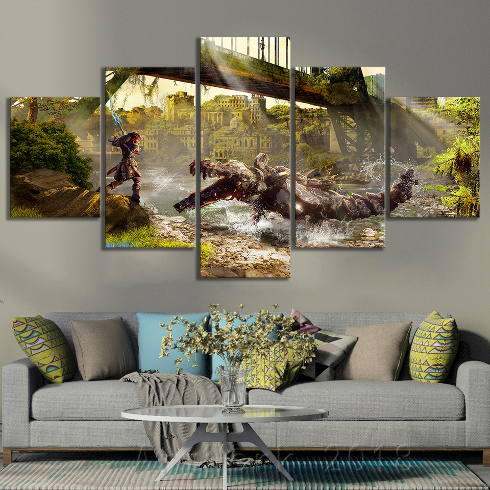 Horizon Zero Dawn Video Games Art Frameless Paintings Creative Birthday Present Fantasy Wall Art Canvas Paintings for Wall Decor 2