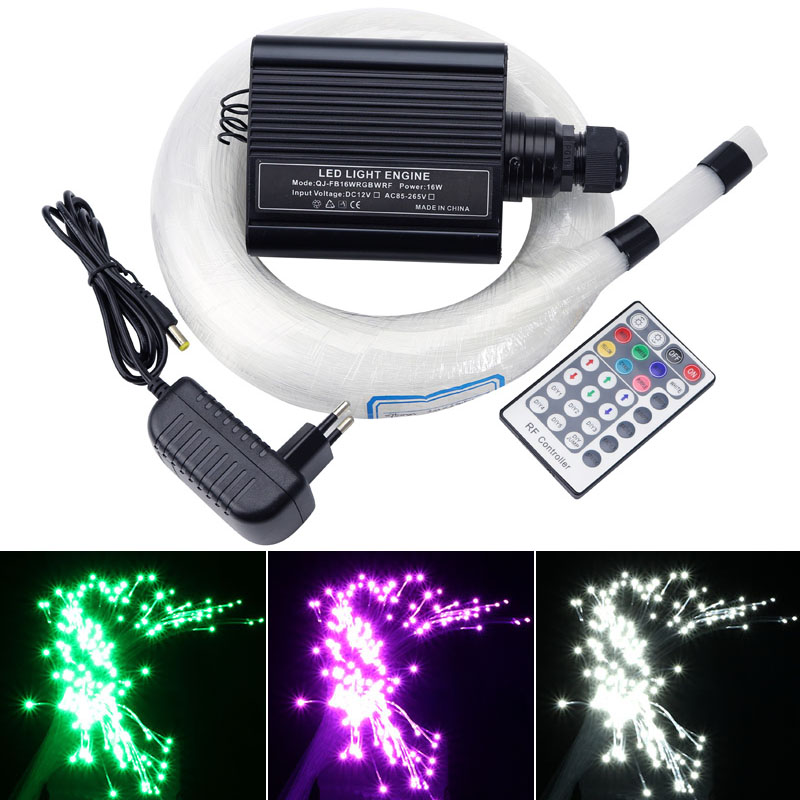 colorful fiber optic star ceiling kit light 0.75mm 150pcs*2m+250pcs*3m optical fiber cable+16w rgbw engine RF remote