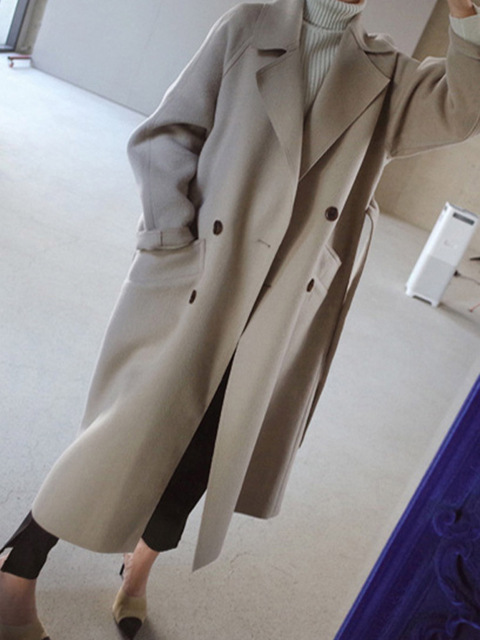 Women Wide Lapel Belt Wool Blend Long Coat 1