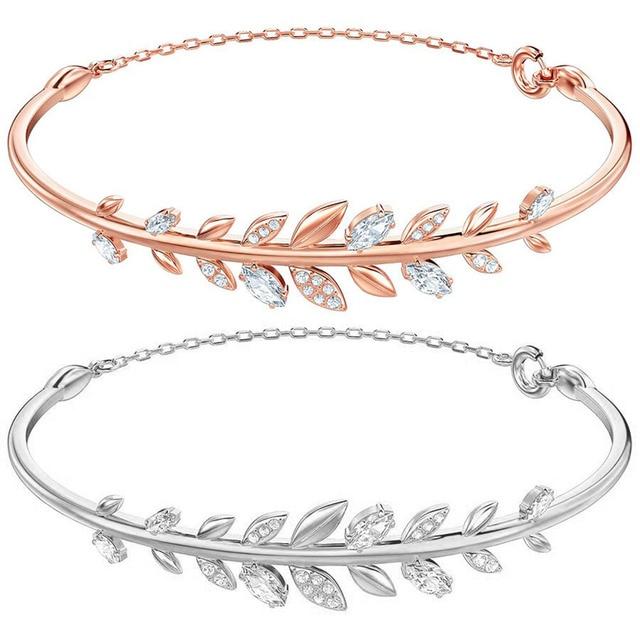 2018 Autumn New Full Diamond Mayfly Bangle White Rose Gold Leaf Bracelet Daughter Jewelry Gift